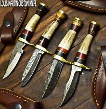 LOUIS MARTIN CUSTOM HANDMADE DAMASCUS ART A LOT OF 4 SKINNER KNIFE STAG ANTLER
