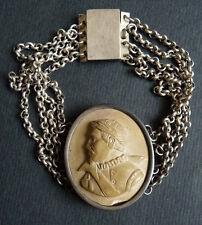 Bracelet argent + camée pierre de lave 19e s silver lava cameo FASSO ou TASSO
