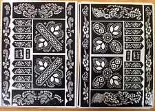 Set CONFEZIONE DA 2 Fogli & Henné incollare ADESIVI Tatuaggio BodyART MEHNDI Stencil India