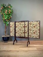 More details for lovely antique victorian large tapestry mahogany three panel fire screen