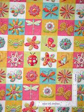 Butterfly Bee Fabric - Flowers & Bugs Magic Garden Block SPX (Spectrix)  - 1.6Yd