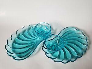 Hazel Atlas Capri Blue Seashell Swirl Snack Set 12 Pieces 6 Plates 6 Cups