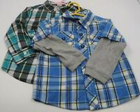 Set of 2 Mixed Brands Boys Toddlers Plaid Shirts Long Sleeve Button Ups Size 3T