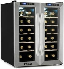 Klarstein SaloonNapa Wine Refrigerator 24 Bottles, 2 Doors Glass, Black / Silver