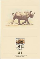 (EO57) 1983 WWF (G) official proof card rhino &stamp