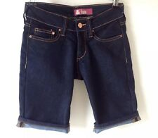 H & M SIZE 4 - 6 W24 BLUE STRETCH SKINNY CROP JEANS SHORTS FESTIVAL HOLIDAY BOHO