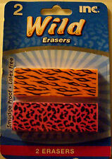 NEW 2 pc WILD ANIMAL PRINT ERASERS Animal Cheetah Leopard Tiger  INC.