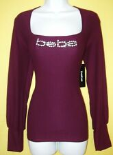 BEBE WOMEN'S SWAROVSKI CRYSTAL RHINESTONE LOGO LONG SLEEVE TOP STRETCHY M NWT