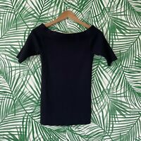By Anthropologie Navy Ribbed Off The Shoulder Top Women's Size Medium