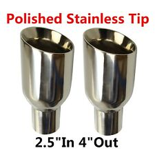 """2X 2.5""""In 4""""Out Polished Stainless Exhaust Duo Layer Slant Cut Tip Sliver New"""
