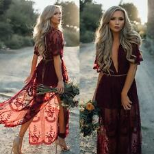 AU Women Vintage Boho Maxi Long Dress Floral Deep V Neck Party Evening Sundress