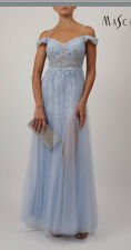 Mascara baby blue Beaded Strap Long Evening Gown cold shoulder Size 14 BNWT