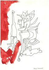 YVES TANGUY - INK DRAWING ON ORIGINAL PAPER OF THE '50s -