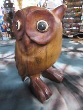 Hand Carved Solid Timber Wooden Wise Owl Decorative Ornament Statue 13cm Tall
