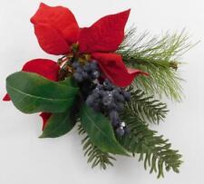 Ashland Christmas Tree Pick Red Flowers Poinsettias Blue Berries New  B