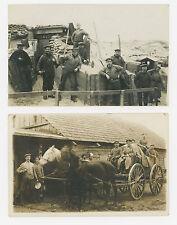 2 GERMAN MILITARY WORLD WAR I HORSEDRAWN WAGON BUNKER GOGGLES RPPC POSTCARDS #D