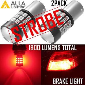 Alla Lighting 39-LED 1157 Strobe Flashing Brake Stop Light Bulb Red Rear Marker