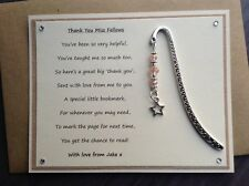 Personalised Thank You Teacher Poem Magnet Star Bookmark. School Staff Assistant