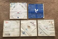 5 Vintage Handkerchiefs Original Boxes, Victorian Hand Embroidered, Etc. (4)