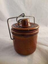 Vintage Brown Stoneware Cheese Crock Wire Bail Lid