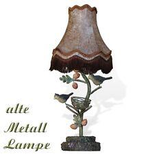 Tischlampe Vögel Blätter Metall Vintage Lampe mit Lampenschirm alter Leuchter