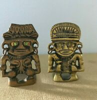 Two Vintage Brass Inca Warriors w/ Earrings & Green Eyes Statues/Small Bookends