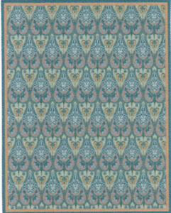 """Dollhouse Miniature Peacock Blue and Green Accent Rug 4 3/4"""" x  3 3/4"""" RG223"""