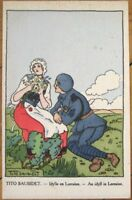 Tito Saubidet/Artist-Signed 1915 Postcard - Couple in Lorraine, France