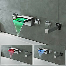LED Bathroom Mixer Tap Bath Tub Waterfall Faucet Handheld Shower Wall Mounted UK