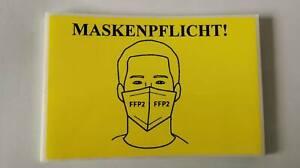 5 Stück Corona Maskenpflicht Schild Etikett Label selbstklebend gelb 10x15cm