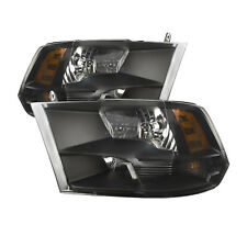 Fits 09-2012 Dodge Ram 1500 Black Headlights w/ Quad Lamp/10-12 Ram 2500-3500