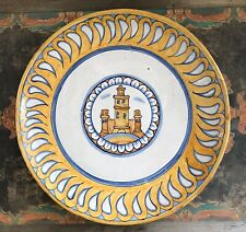 Authentic Vintage Majolica Italian Wall Plate, Yellow, White, Blue, Signed
