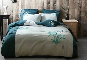 Teal Aqua Quilt Cover Embroidered Oriental Bamboo Doona Cover Set / Options