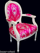vintage lacquered chair with pink uzbek silk ikat upholstery Armlehner Stuhl