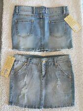 Minigonna jeans denim L 44 elasticizzata borchie oro argento gonna NEW saldi