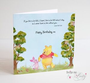 WINNIE THE POOH Birthday Card - Cute Girls Boys Husband Wife Anniversary Card