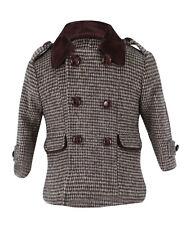 SIRRI Boys Coat Tweed Wool Check Formal Outfit in 2 Piece Brown Set for Winter