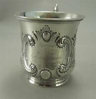 Lovely Antique American St Louis Coin Silver Mug School Gift Cup c 1850