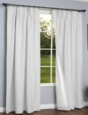 """Thermalogic Cotton Fabric Grommet Top Window Panel White Curtains 80""""x54"""""""