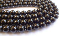 6mm Round Black Tourmaline Semi Precious Gemstone Beads - Half Strand(30-33pcs)
