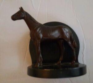 Art Deco Bronze Tone Horse Metal Book End Single