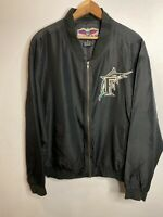 Mens Vintage Florida Marlins Silk Jacket Small Full Zip Embroidered Black