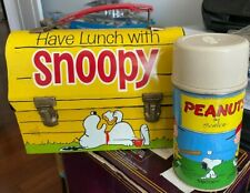 Original 1968 metal HAVE LUNCH with SNOOPY Domed lunchbox W/Thermos Peanuts