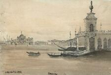 GRAND CANAL VENICE ITALY Small Watercolour Painting - 1832 - 19TH CENTURY
