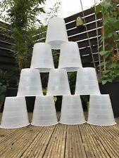 10 x 10L  Recycled White / Translucent Plastic Stripe Plant Pots