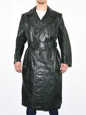 Vintage Dark Green Belt Fitted Military Biker Knee Length Coat Jacket Size L