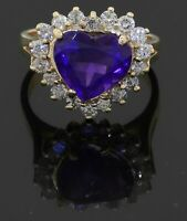 Heavy 14K yellow gold 4.40CT diamond & Heart cut amethyst cluster ring size 6.25