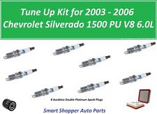 Tune Up For 2003 2004 - 2006 Chevrolet Silverado 6.0L Air Oil Filter Spark Plugs