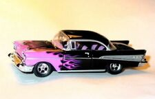 1957 57 CHEVROLET CHEVY BEL AIR COLLECTIBLE DIORAMA DIECAST -Black w/Flames