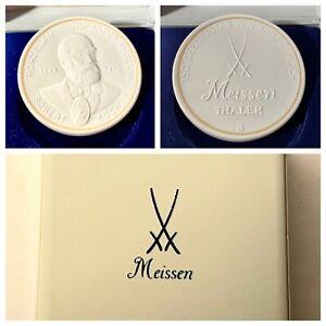 Meissen Porzellan Medaille Etui Thaler Gedenkmünze Robert Koch Porcelain Medal